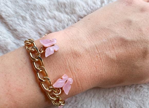 Schakel armband vlinder roze