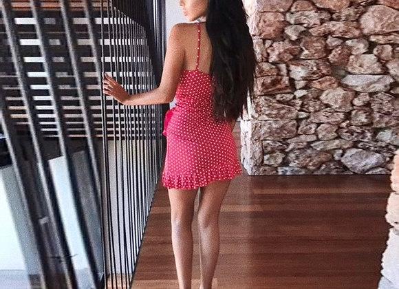 Red/pink dott dress maat M