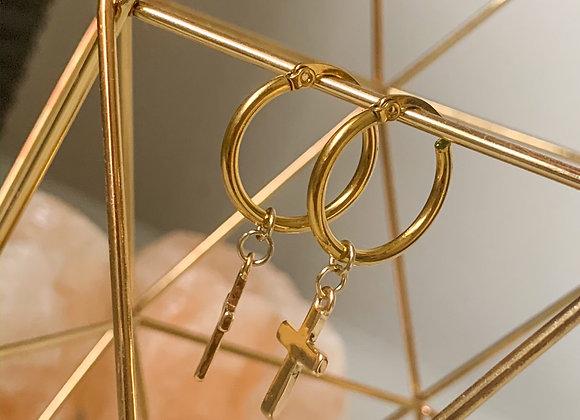 Creolen hoops kruis