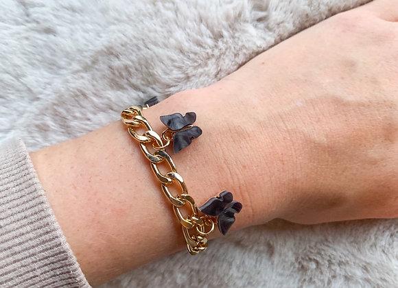 Schakel armband vlinder zwart