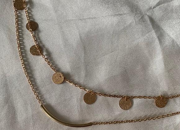 Double layer sparkle coins necklace