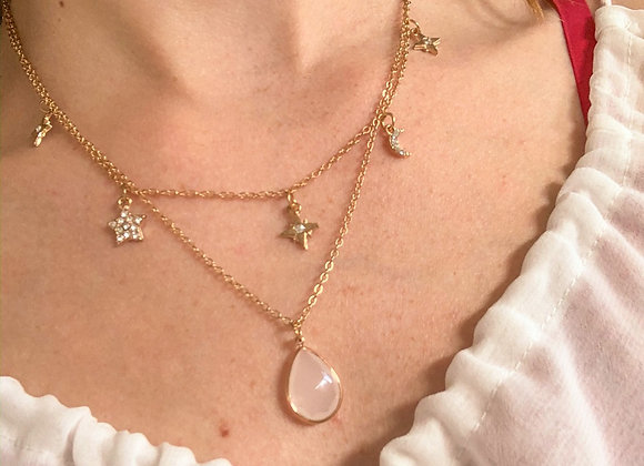 Double layer stars diamond necklace