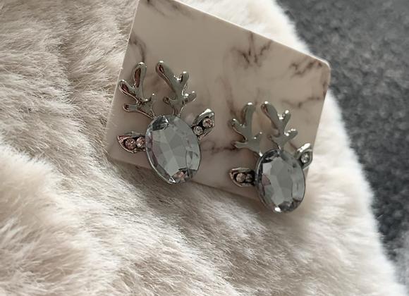 Zilveren rendier met diamant
