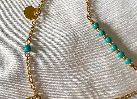 Double layer blue summer necklace