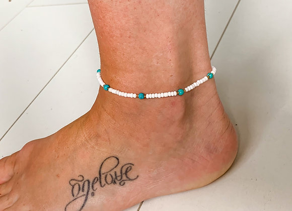Turquoise gold anklet