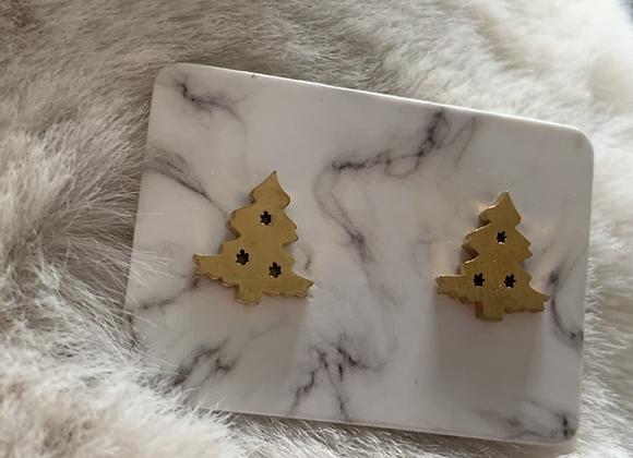 Gouden kerstboom oorbel
