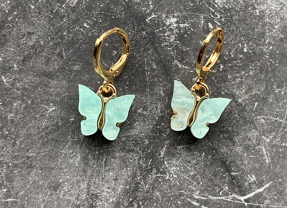 Mini hoops vlinders turqouise