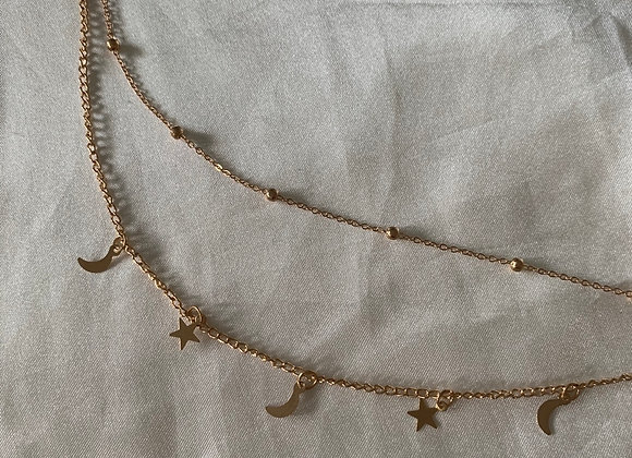 Double layer moon star necklace