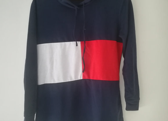 Long sweater rood wit blauw