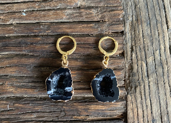 Mini hoops zwart natuursteen