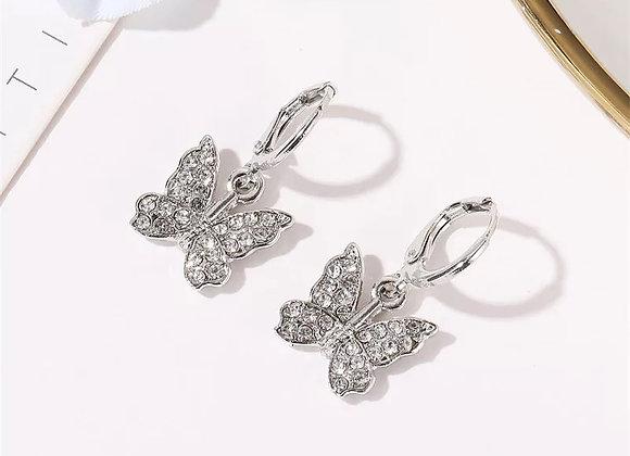 Diamanten vlinder mini hoops oorbellen