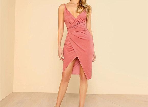 Overlap dress pink