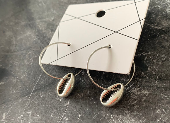 Small silver shell hoops