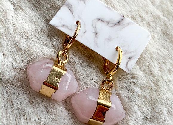 Mini hoops pink stone