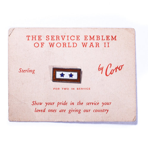 US WWII Son In Service Pin on Original Sales Card (2 Stars/Sterling)