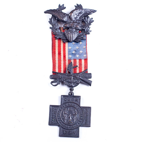US Spanish American War Medal (Early serial No. 9,488)