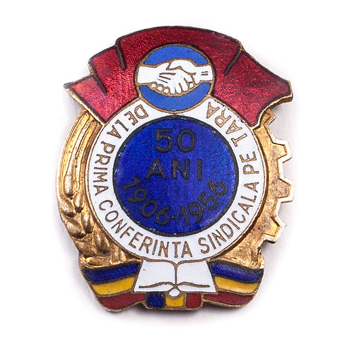 "Romanian 1956 ""50 Years"" Trade Union Badge"