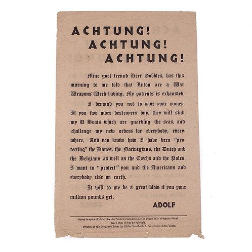 British Anti-Hitler Propaganda Leaflet