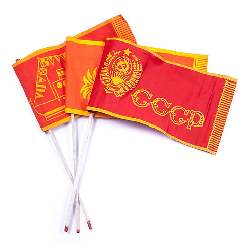 A Group of 3 Small USSR Flags