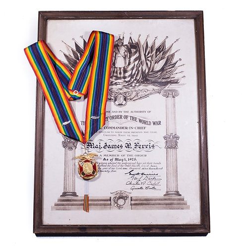 Military Order of the World War Named Set (Commander's Grade w/ Framed Document)