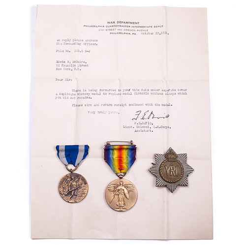 WWI Grouping Named to US National Army Air Service Pvt. Edwin B. McGuire