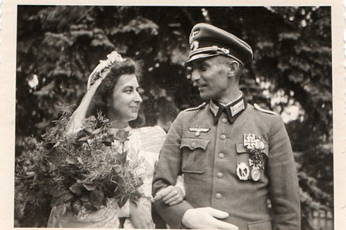 Wedding Portrait of Decorated German Army Officer