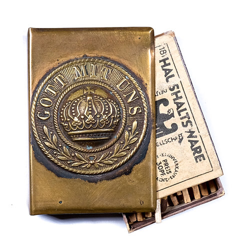 WWI German Trench Art Match Safe (w/ Matches)