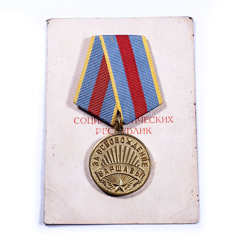 "WWII Soviet Medal ""For the Liberation of Warsaw"" (w/ award booklet)"