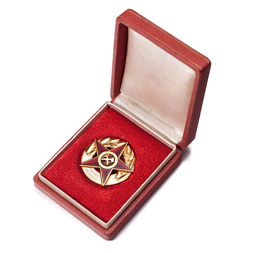 "Hungarian ""Excellent Mining Staff"" Badge (Cased)"