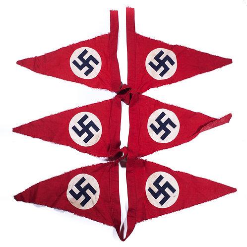 An Uncut String of 6 Original NSDAP Pennants