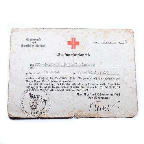 WWII German Wehrmacht Personalausweis for DRK Helferin, 1943