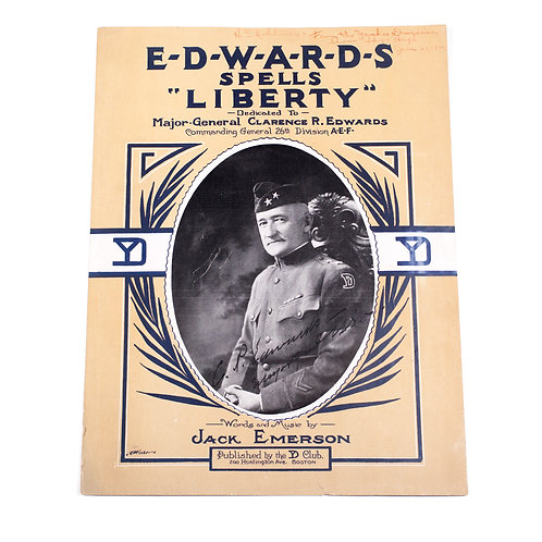 Maj. Gen. Clarence Edwards *Autographed* YD Sheet Music, 1920.