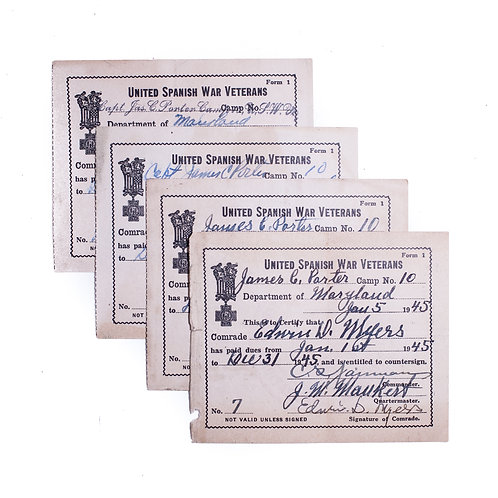 4 United Spanish War Veterans (USWV) Membership Cards