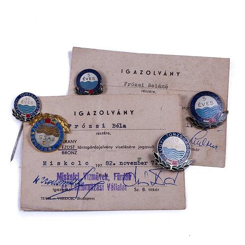 "Hungarian ""Water Guard"" Badge + Paperwork Grouping"