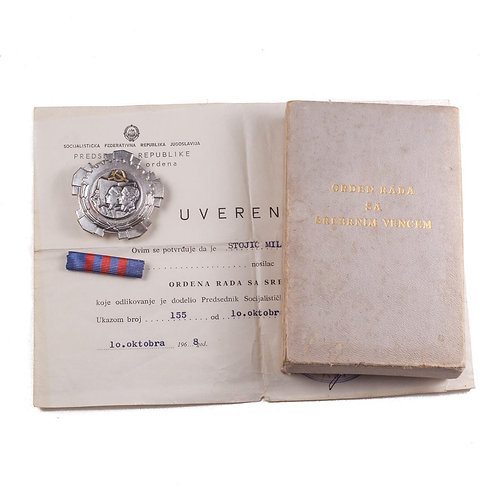 Yugoslavian Order of Labor, 3rd Class (Complete Set)