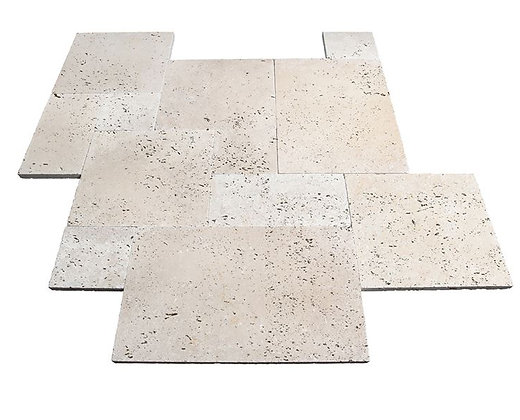 roman light blend travertine honed tumbled paver tiles