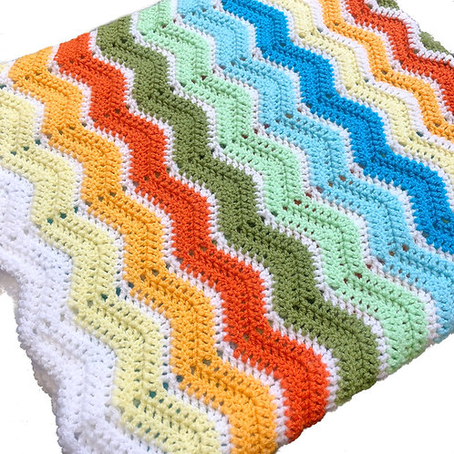 Crochet Baby Blanket | 90x90 cm or 60x60 cm | Rainbow Gender Neutral | Gift Bag