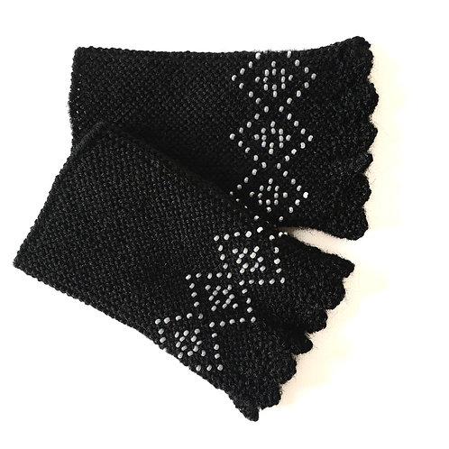 Beaded Wrist Warmers | Squares | Black