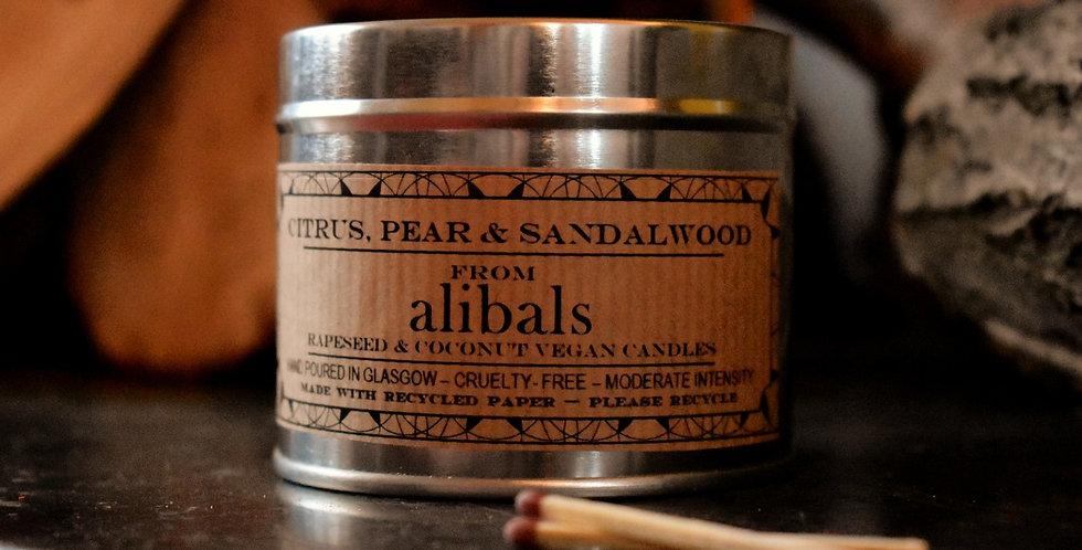 Citrus, Pear & Sandalwood Tin Candle