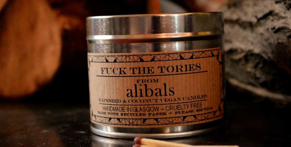 Fuck the Tories Tin Candle