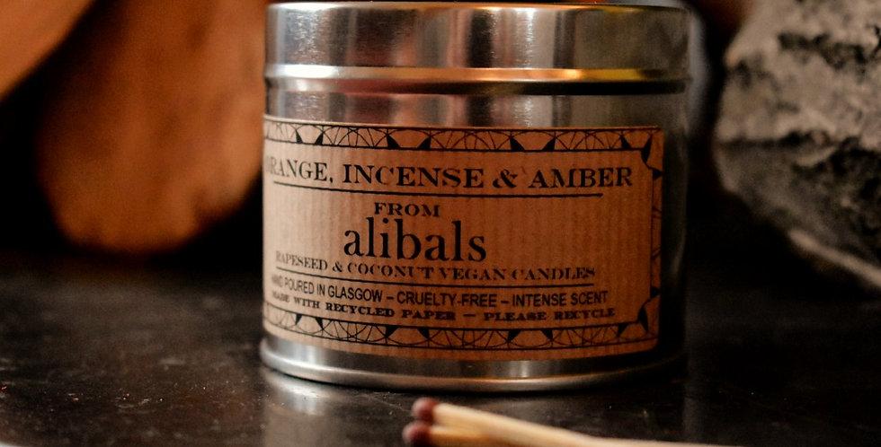 Orange, Incense & Amber Tin Candle