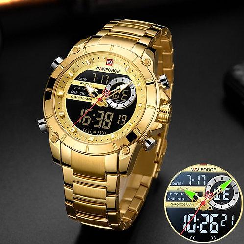 NAVIFORCE Men Military Sport Wrist Watch Gold Quartz Steel Waterproof