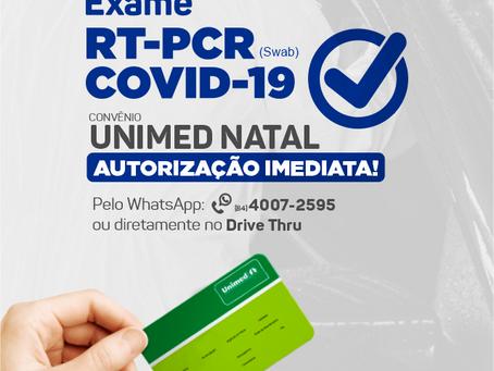 Convênio UNIMED NATAL, autorização Imediata do exame RT-PCR COVID-19 (swab).