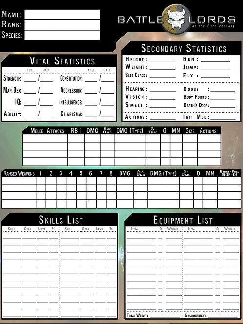 Battlelords of the 23rd Century Character Sheets