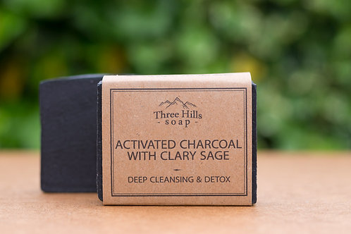 Aktivkohle Naturseife mit Muskatellersalbei / Three Hills Soap