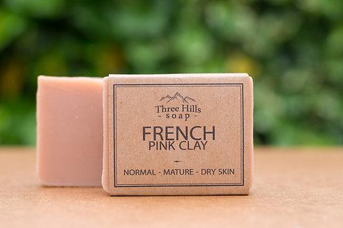 Naturseife mit der rosen (pinken) französischen Tonerde / Three Hills Soap