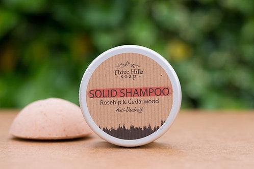 Festes Shampoo mit Wildrosen und Zederholz (Anti-Schuppen) / Three Hills Soap