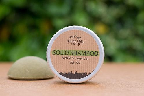 Festes Shampoo mit Lavendel und Brennnessel für fettige Haare / Three Hills Soap