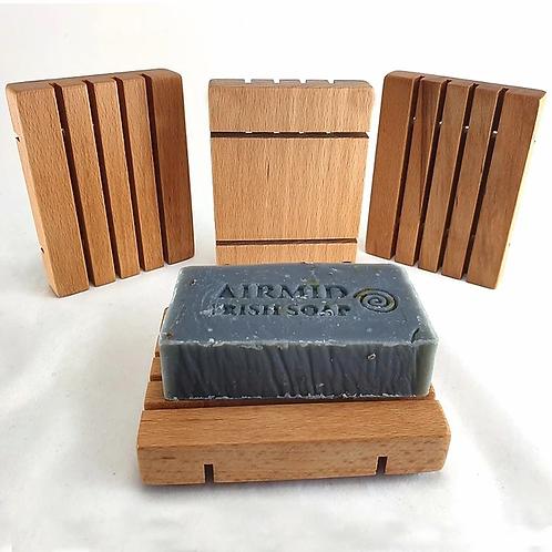 Handgefertigte Seifenschale aus irischem Buchenholz / Airmid
