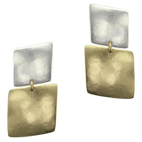 Slanted Squares CLIP Earrings Brass & Silver